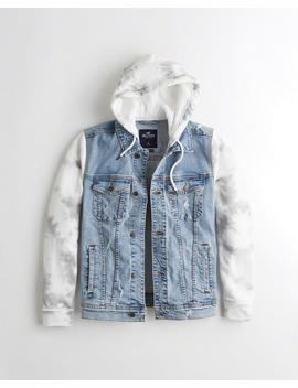 Stretch Hooded Denim Jacket by Hollister