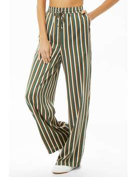 Striped Palazzo Satin Pants by Forever 21