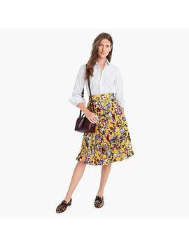Silk Double Pleated Midi Skirt In Floral Print by J.Crew