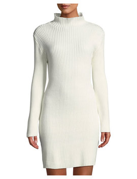 Ribbed Knit Cotton Blend Bodycon Dress by Avantlook