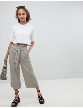 New Look Textured Tie Waist Trousers by New Look