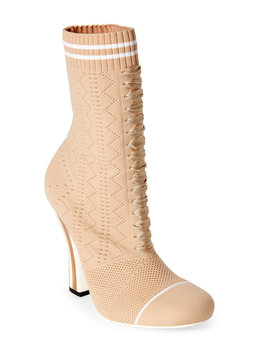 Beige & White Knit Ankle Booties by Fendi