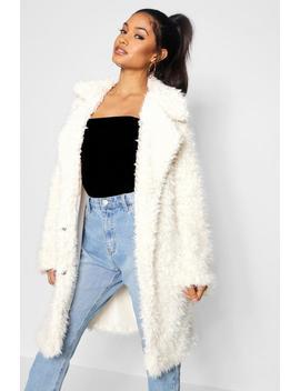 Shaggy Faux Fur Look Coat by Boohoo
