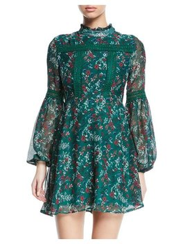 Floral Balloon Sleeve Fit And Flare Dress by Free Generation