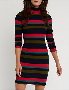 Striped Turtle Neck Dress by Charlotte Russe