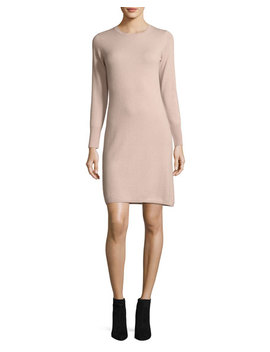 Long Sleeve Crewneck Cashmere Dress by Neiman Marcus Cashmere Collection