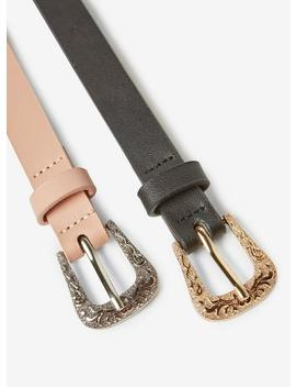 2 Pack Black And Nude Western Belt by Dorothy Perkins