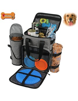 Hilike Premium Pet Travel Bag For Dog & Cat | Week Away Tote Organizer Bag For Dogs Travel | Incudes 1 Dog Tote Bag,1 Dog Food Carrier Bag, 2 Silicone Collapsible Bowls,1 Blanket,1 Frisbee(Grey) by Unicreate