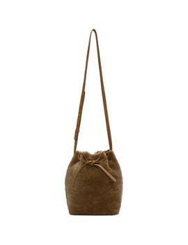 Tan Shearling Mini Bucket Bag by Mansur Gavriel