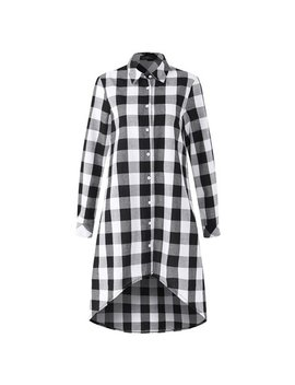 Women Dresses Clearance Check Plaid Long Sleeve Buttons Irregular by Zanzea