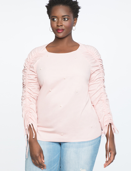 Ruched Sleeve Top With Pearls by Eloquii