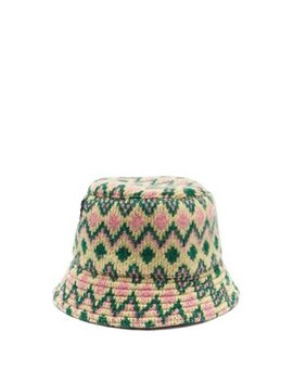 Zigzag Wool Knit Bucket Hat by Prada