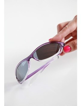 Vintage Crystal Purple Wrap Frame, Mirrored Lenses. by Gpnexxus