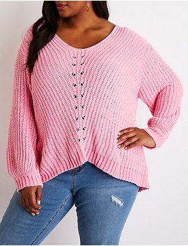 Plus Size Chenille V Neck Pullover Sweater by Charlotte Russe