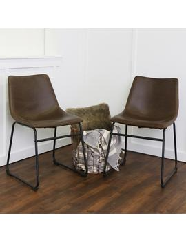 Wasatch Brown Faux Leather Dining Chair (Set Of 2) by Walker Edison Furniture Company