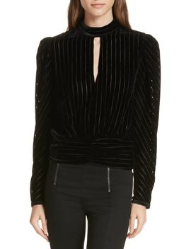 Burnout Stripe Velvet Blouse by Frame