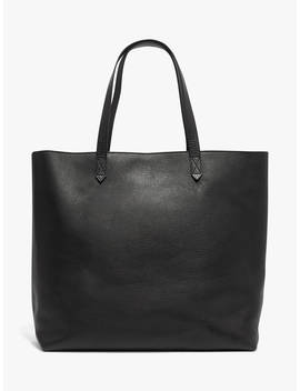 Madewell Leather Transport Zip Top Tote Bag, True Black by Madewell
