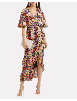 Cape Overlay Metallic Floral Midi Dress by Saloni