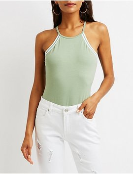 Stripe Bib Neck Bodysuit by Charlotte Russe