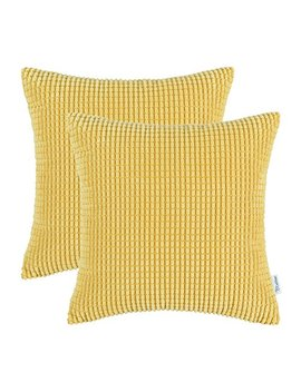 Cali Time Pack Of 2 Comfy Throw Pillow Covers Cases For Couch Sofa Bed Comfortable Supersoft Corduroy Corn Striped Both Sides 18 X 18 Inches Gold Yellow by Cali Time