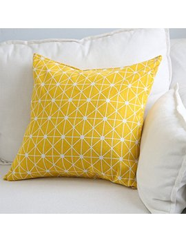 Aimeer 18 X 18 Inch Home Decorative Sofa/Bed Throw Pillow Cushion Cover With Invisible Zipper,Yellow Linen Pillow Case by Aimeer