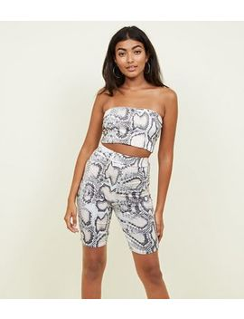 Grey Snake Print Bandeau Top by New Look