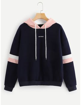 Contrast Panel Drawstring Hoodie by Shein