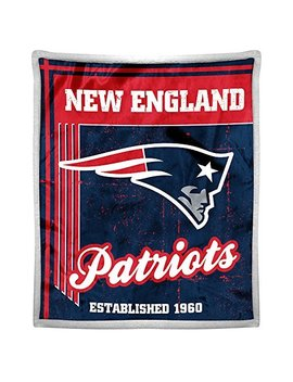 "Northwest Nfl New England Patriots Old School Mink With Sherpa Back 50"" X 60"" Throw Blanket by Northwest"
