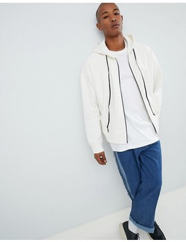 Mennace Zip Thru Hoodie With Drop Shoulder In White by Mennace
