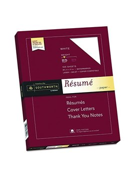 "Southworth 100 Percents Cotton Resume Paper, 8.5"" X 11"", 24 Lb , White 100 Sheets by Southworth"