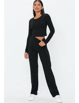 Black Ribbed Wide Leg Co Ord Trousers by Missguided