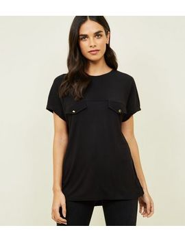 Black Crepe And Jersey Tab Front T Shirt by New Look