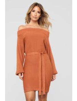 Ryleigh Off Shoulder Dress   Rust by Fashion Nova