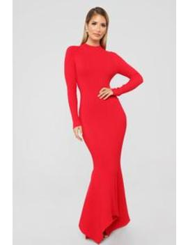 Left My Heart In Rome Mermaid Dress   Red by Fashion Nova