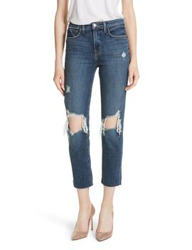 Audrina Ripped Straight Leg Crop Jeans by L'agence