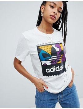 Adidas Skateboarding   T Shirt Avec Logo Trèfle Multicolore   Blanc by Asos Fr