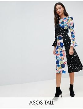 Asos Tall Spot And Floral Midi Dress With Fluted Sleeve by Asos Tall