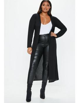 Plus Size Black Ribbed Longline Cardigan by Missguided