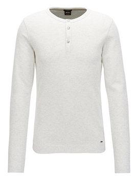 Boss Men's Slim Fit Long Sleeve Cotton Henley Shirt by Hugo Boss