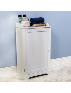 Free Standing White Bathroom Floor Storage Cabinet Organizer Adjustable Shelf by Bennington