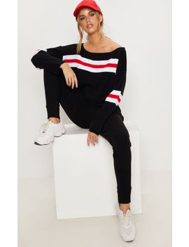 Black Striped Knitted Lounge Set  by Prettylittlething