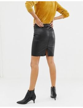 Vero Moda Leather Look Skirt by Vero Moda