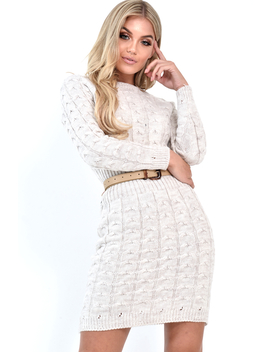 Beige Cable Knit Jumper Midi Dress   Jaylie by Rebellious Fashion