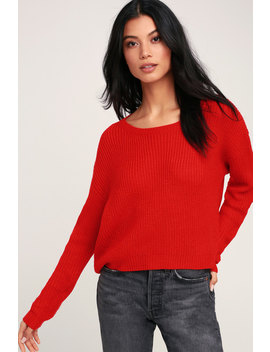 Fitz Red Knit Sweater by Lulus