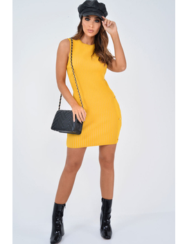 Mustard Button Front Knitted Jumper Dress   Adalei by Rebellious Fashion