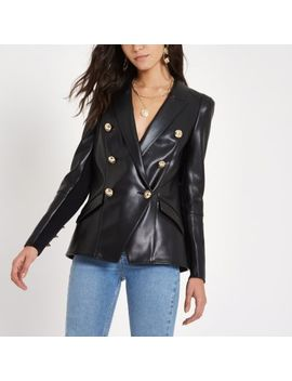 Black Faux Leather Double Breasted Tux Blazer by River Island