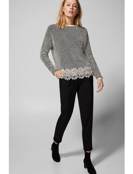 Textured Weave Jumper With Lace Hem by Springfield