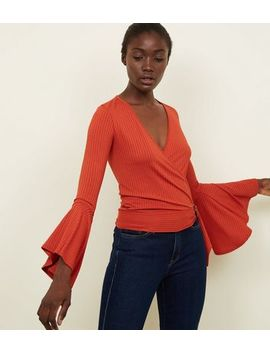 Rust Ribbed Bell Sleeve Wrap Top by New Look