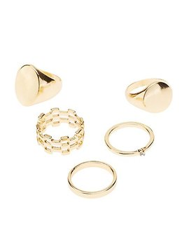 Metal Stacking Rings   5 Pack by Charlotte Russe