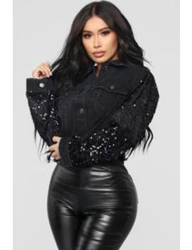 Sequin Shine Denim Jacket   Black by Fashion Nova
